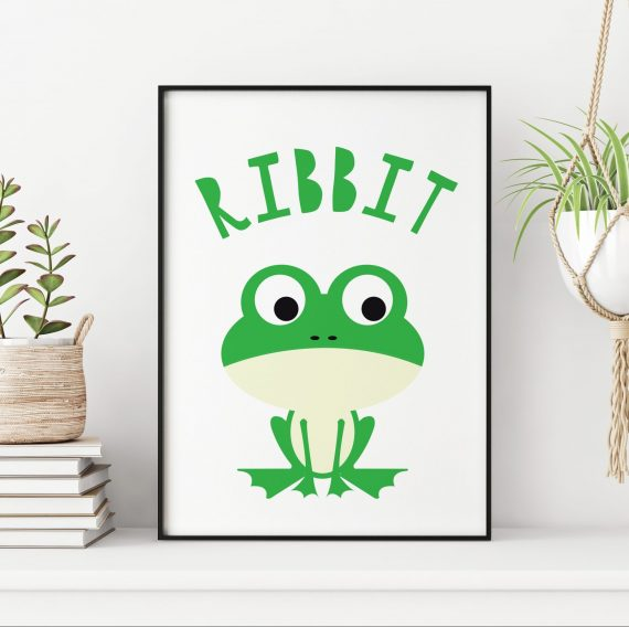 Stripey Cats Frog ribbit Nursery Print