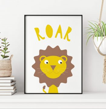 stripey-cats-lion-roar-nursery-print