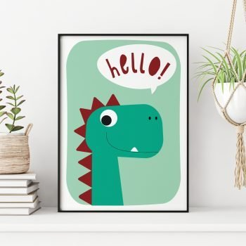 Dinosaur-Hello-Print-by-Stripey-Cats