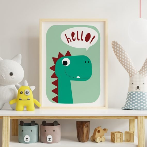Dinosaur-Print-for-Childs-room-Hello