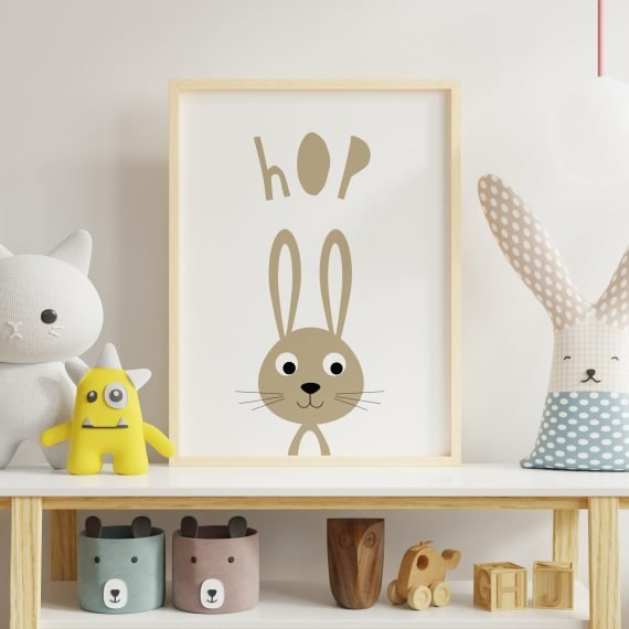 Easter-gift-fir-children-easter-bunny-art-unisex-new-baby-gift-Hop-Bunny-Rabbit-print