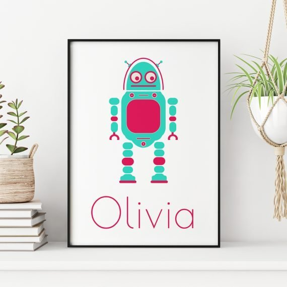 Personalised-Robot-Print-in-Green-by-Stripey-Cats