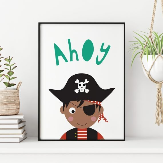 Pirate-childrens-bedroom-Print-brown-by-Stripey-Cats