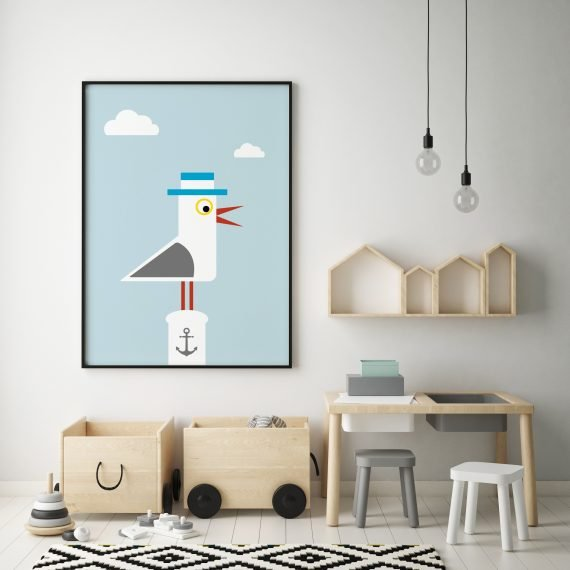 stripey-cats-seagull-seaside-childrens-print