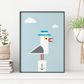 stripey-cats-seagull-nautical-seaside-print