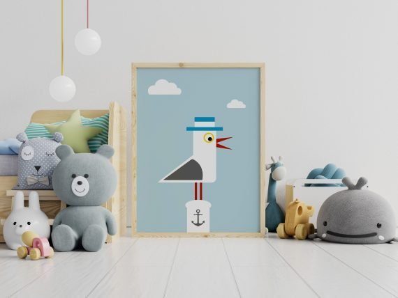 Seagull-Nautical-Print-for-Childrens-Bedroom