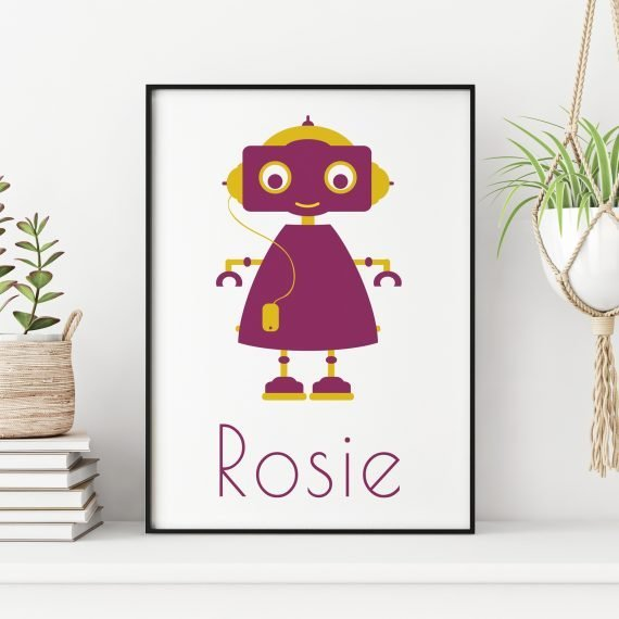 Personalised-Girl-Robot-Print-by-Stripey-Cats