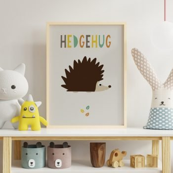 stripey-cats-hedgehug-hedgehog-nursery-print