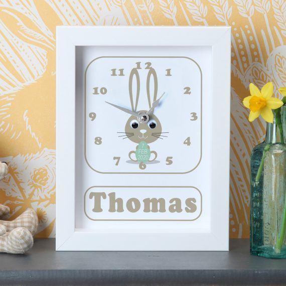 Personalised-New-Baby-BUnny-Clock-Green