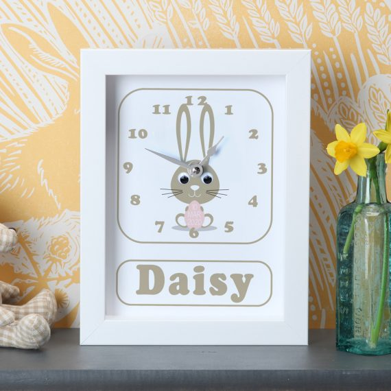 Personalised-New-Baby-Bunny-Clock-Pink