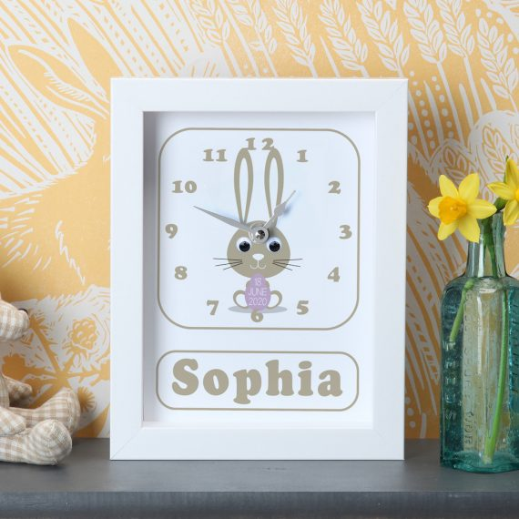 Personalised-New-Baby-Bunny-Clock-Purple