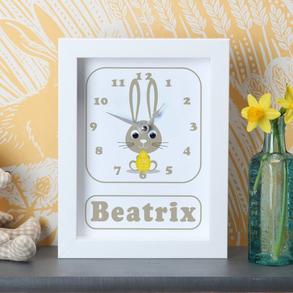 Personalised-New-Baby-Bunny-Clock-Yellow