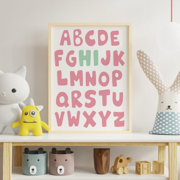 Alphabet-Nursery-print-Pink-Green