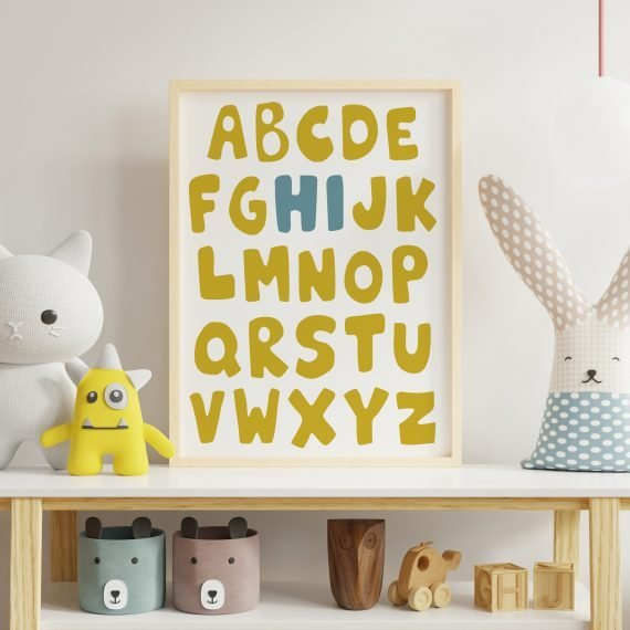 Alphabet-Nursery-print-yellow-and-blue