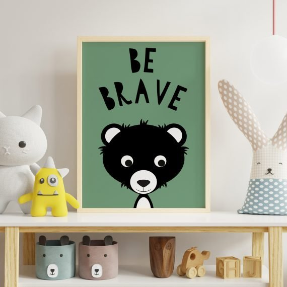 Be-Brave-Cute-Bear-Nursery-print