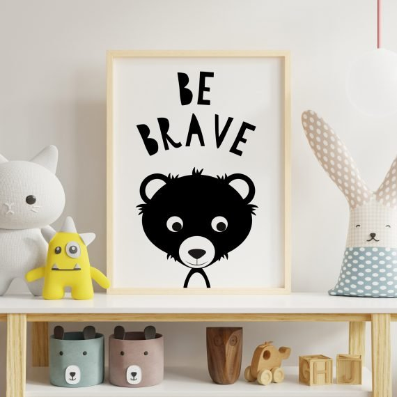 Be-Brave-`black-and-white-nursery-typography-print