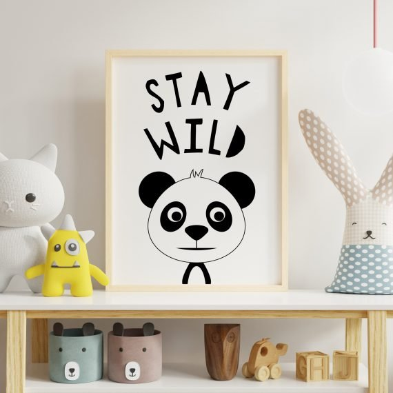 Black-&-White-Panda-Stay-Wild-Print