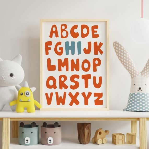 Children's-Alphabet-Print-Orange-Blue