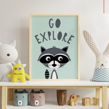 Go-Explore-Racoon-Print-for-nursery