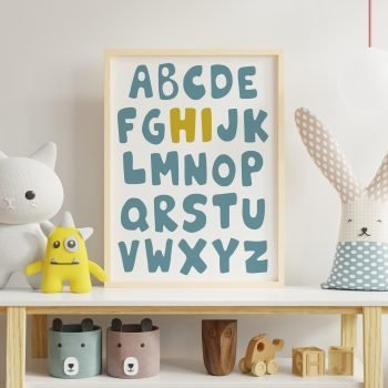 Kids-Alphabet-Print-Poster-Blue-and-yellow