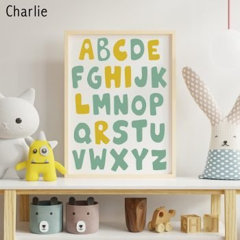 Personalised-Name-Alphabet-Print-green-yellow