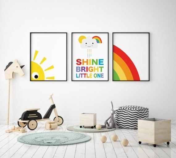 Set of 3 nursery prints shine bright little one