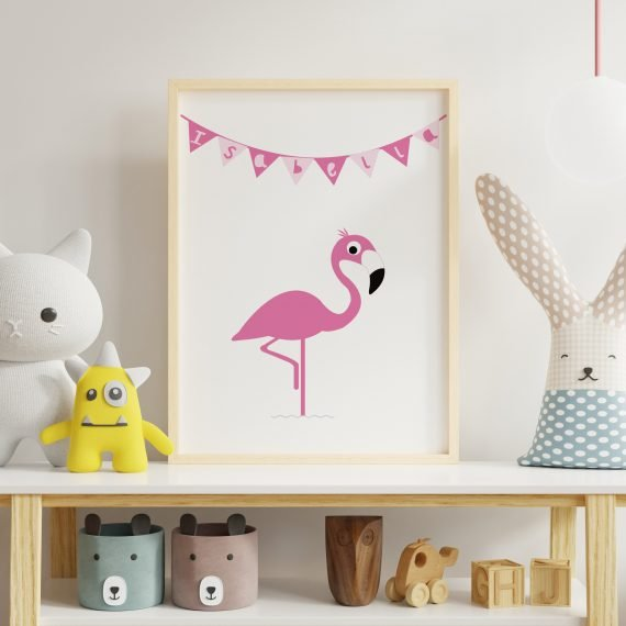 Personalised-Flamingo-print-for-Childs-room