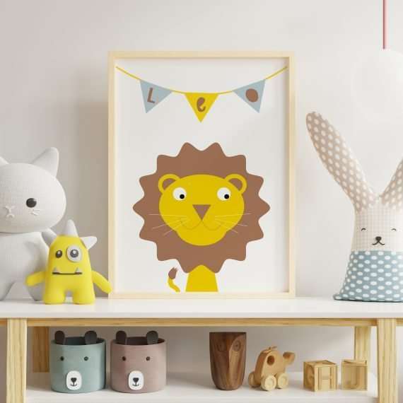 Personalised-Lion-Print-for-Childs-room