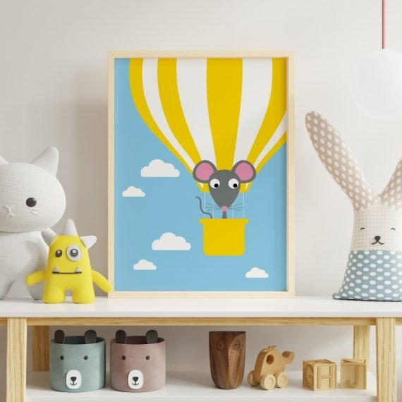 Mouse-Hot-Air-Balloon-print-for-Children's-Room