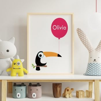 stripey-cats-personalised-childrens-toucan-balloon-print